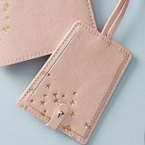 Anthropologie Rose Gold Star Dusted luggage tag